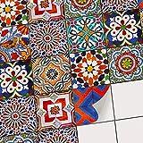 Mosaikfliesen für - [ Boden Fliesen ] - Sticker Aufkleber Folie für Bodenfliesen - Bad oder Küche | Fliesensticker als Alternative zu Fliesenlack | 30x30 cm - Design Portugiesische Fliesen
