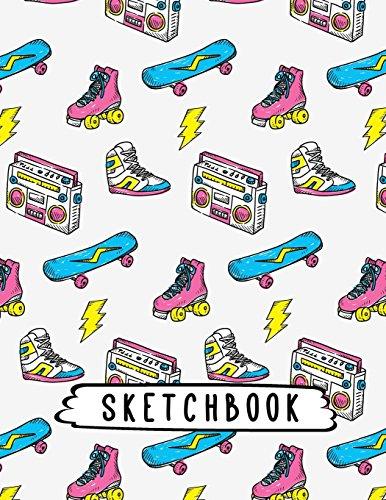 Sketchbook: Sneakers & Roller Skates Retro Pattern, Large Blank Sketchbook, 110 Pages, 8.5