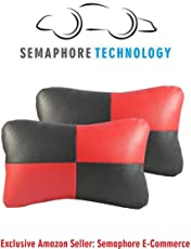 (Semaphore) Car Neck Pillow, Auto Head Neck Rest Cushion Relax Neck Support Headrest Comfortable Soft Pillows for Travel Car Seat & Home (Black/Red) for -Renault KWID
