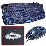MFTEK Gaming Tastatur und Maus Set (Deutsches Tastaturlayout, QWERTZ) - USB verdrahtete LED 3 Farben (Blau/Rot/Purpur) Backlit Luminous Gaming Tastatur und Maus Combo
