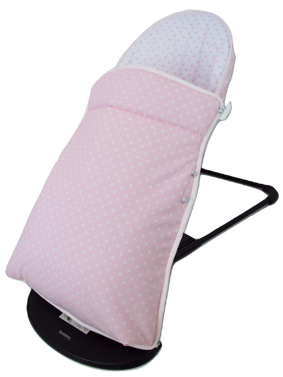 Baby Bouncer Cover and Footmuff for BabyBjörn Balance and Soft Personalized with Embroidered Name. Several Models Available (Stars Pink) Borda y más Upholstery for totally replacing the original Babybjörn baby bouncer upholstery. It consists of FOOTMUFF and COVER. Compatible with Babybjörn Balance and Babybjörn Balance Soft. Made in natural soft and breathable pique, without chemical substances perfect for your baby as it reduces your baby's skin irritation or reaction. With our footmuff changeable into cover you will keep your baby war in the coldest days at the same time you provide your baby bouncer a new image. You only need to fit together the cover and the upholstery by the zippers and velcro system. The footmuff adjustable to 3 different positions. You won't need to worry about the blanket again; your baby will be able to play and sleep without being cold. Design: Made in pink pique with white stars combined with white pique and pink stars. 100% made in Spain with the best finishes and qualities. It can be easily removed and wash in the washing machine, programmes lower than 30 degrees and using organic or neutral soap. 4