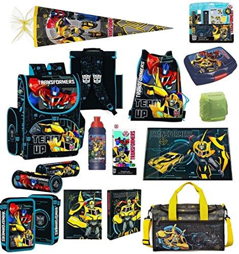 Transformers Schulranzen Set 21tlg. mit Federmappe, große Sporttasche und Schultüte 85cm PL (Bee-transformer-auto Bumble)