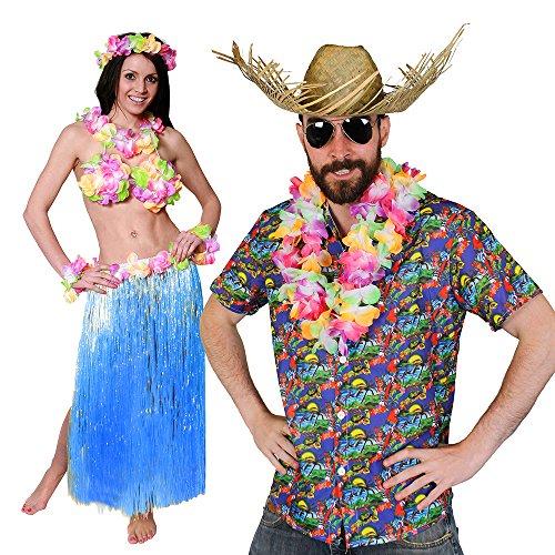 ii KAPITÄN=Paare KOSTÜM Verkleidung= 5 GRÖSSEN=BASTROCK 80 cm Lang+ Hula BH+ Lei Sets+Hawaii Hemd + Beachcomber Strohhut +Brille =XXLarge+ BASTROCK -Blau ()