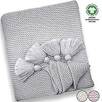 "Organic Cotton Baby Blanket 50""x60"" Grey"