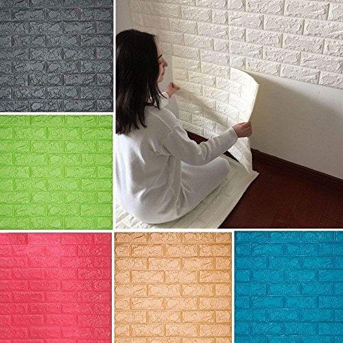 3D Ziegelstein Tapete, Selbstklebend Brick Muster Tapete, Fototapete~Wandaufkleber für Schlafzimmer Wohnzimmer moderne tv schlafzimmer wohnzimmer dekor, 60 * 60cm, weiß