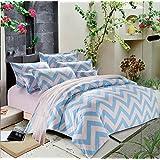 Zhiyuan funda de edredón hoja plana funda de almohada con zig-zag,cama de 90cm,azul claro