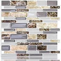 Azulejos autoadhesivos Vamos para azulejos y azulejos, 3D, azulejos de pared para cocina y baño, 26 x 25 cm (6 azulejos)