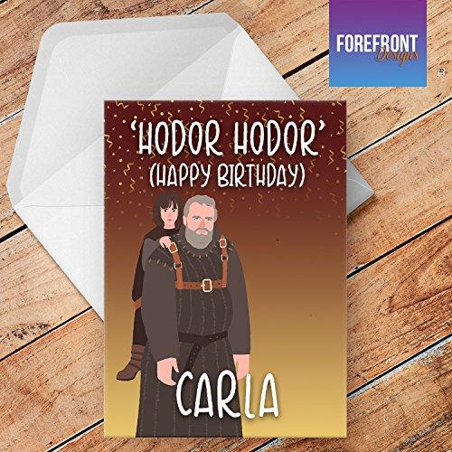 Tarjeta de felicitación personalizable con texto en inglés HODOR HODOR para cualquier ocasión o evento, cumpleaños, Navidad, boda, aniversario, compromiso, día del padre/día de la madre