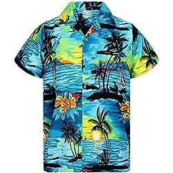 Funky Camisa Hawaiana, Surf, turquesa, M