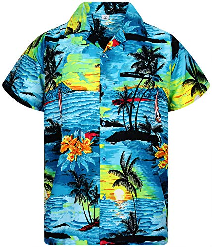 Surfer Girl Shirt (Funky Hawaiihemd, Surf, türkis, 6XL)