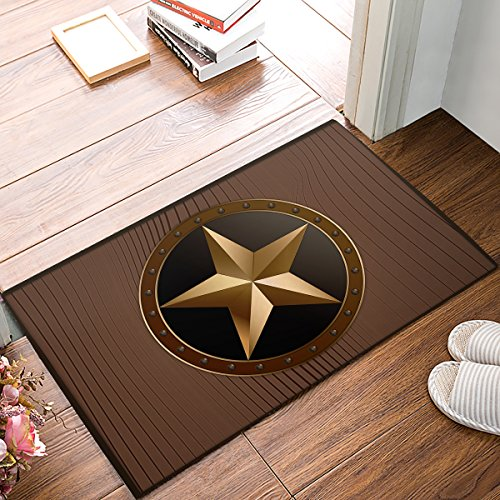 Holz Outdoor-teppich (SUN-Shine Rutschfeste Unterseite Fußmatte Western Texas Star auf Braun Holz Barn Print Eingang Teppich Indoor Outdoor Fußmatte Welcome Mats 15.7x23.6in Brown 1)
