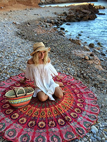 urbancharm- indischen rot Pfau Mandala rund Roundie Beach Überwurf Tapisserie Hippie Boho Gypsy Baumwolle Tischdecke Strandtuch