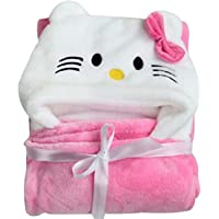 My Newborn Baby Fleece Wrapper Hooded Blanket, Pink and White