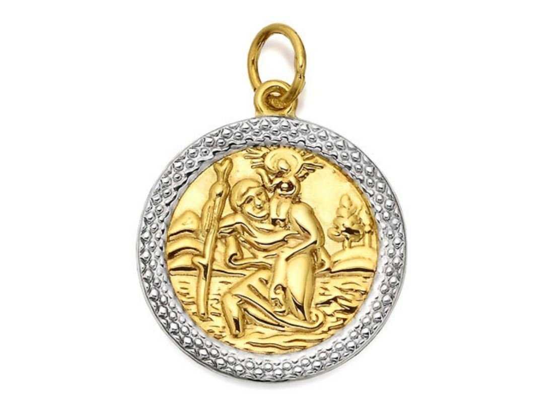 F.Hinds Mens Jewellery 9ct Two Colour Gold St Christopher Medallion – 18mm