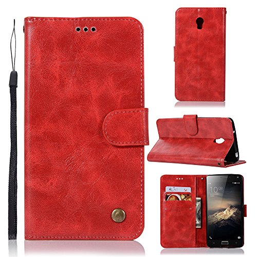 kelman Hülle für Lenovo Vibe P1 Hülle Schutzhülle PU Leder + Soft Silikon TPU Innere Schale Brieftasche Flip Handyhülle - [JX05/Rot]
