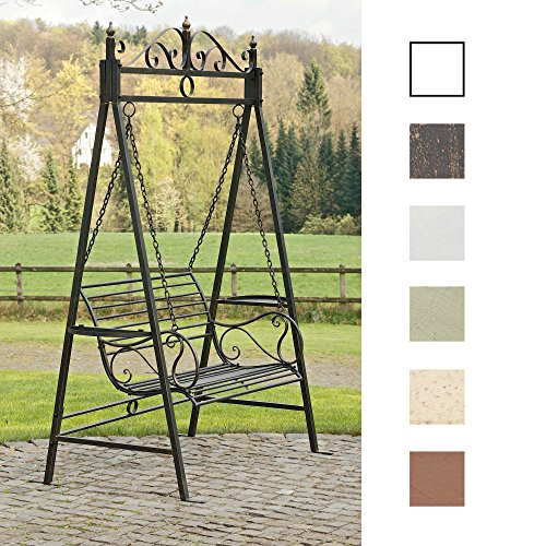 CLP 2 Sitzer / 3 Sitzer Garten Hollywoodschaukel AIMEE, Landhaus-Stil, Metall (Eisen) bronze