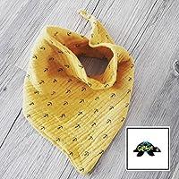 Halstuch - Dreieckstuch Baby aus Musselin senfgelb/ Anker