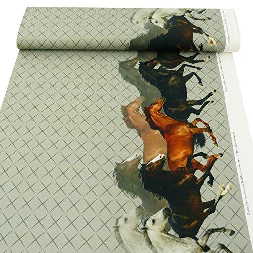 Jersey Stenzo Digitaldruck Bordüre Pferde grau braun beidseitig 1,50m Breite