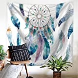 Amkun Tapestry Wall Hanging, Great Wave Kanagawa Wall Tapestry with Art Nature Home Decorations for Living Room Bedroom Dorm Decor (Feather-01)