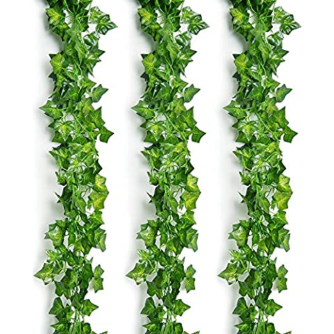 Outus 12 Paquetes de Vid Artificial Verde de Hiebra Guirnalda de Hojas para Decoración de la Pared de Fiesta de Boda