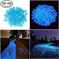 Candora® Decorative Stones 200pcs Man-made Luminous Cobblestone Glow in the Dark Pebbles Stone for Garden Walkway Outdoor Fish Tank (Blue)