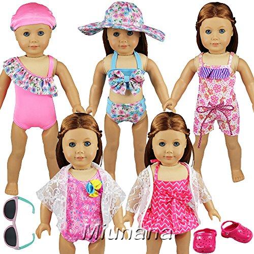 Miunana 5 Maillots de Bain Mignons Pour Poupée American Girl + 1 Lunettes de Soleil+ 1 Paires de Chaussures