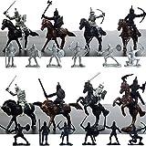 Zantec Giocattoli modello antico soldati Mini Cavalry Knights Horse Toys Statici Soldati antichi Giocattoli modello come decorazione (12 soldati + 8 cavalli + cavalieri)