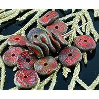 NUOVA FORMA 12pcs Ruvida Picasso Rustico Rosso Opaco Marrone Disco Rotondo Foro ceca Perle di Vetro Disco 12mm