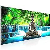 Bilder Buddha Wasserfall Wandbild 100 x 40 cm Vlies - Leinwand Bild XXL Format Wandbilder Wohnzimmer Wohnung Deko Kunstdrucke Blau 1 Teilig -100% MADE IN GERMANY - Fertig zum Aufhängen 503512b