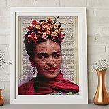 Frida Kahlo Rahmen mit der Definition von Kreativität. Plakat mit Bild von Frida Kahlo mit hellem Hintergrund und roten Tönen in A3 Kunstdruck des mythischen Malers Frida Kahlo. Definitionsblatt. Inneneinrichtung. Rahmen zum Rahmen. Papier 250 Gramm hohe Qualität. Dekorieren Sie Ihr Wohnzimmer, Schlafzimmer oder machen Sie das perfekte Geschenk.