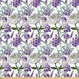 ABAKUHAUS Floral Stoff als Meterware, Lavendel und Peony