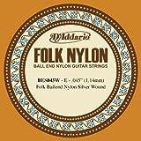 D\'Addario Corde seule en nylon pour guitare folk D\'Addario BES045W, filet en argent, extrémité à boule, .045