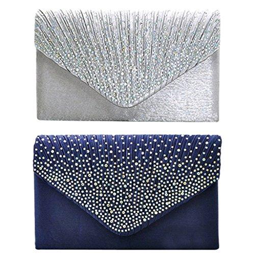 Prettyia Damen Clutch Bag Abendtasche Party Kettentasche Hochzeit - Silber Dunkelblau