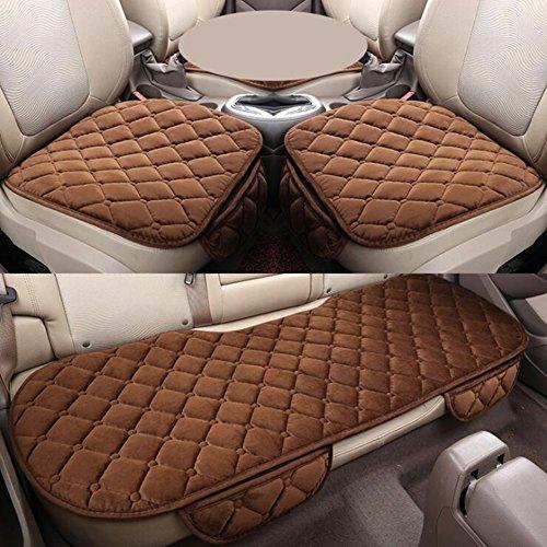 Brown Velvet Kissen (QLL Comfort Plus Velvet Warmer Plüsch Autositz Dreiteiliger Samt Kissen Autozubehör,Brown,A)