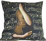 #10: FLC Guitar Music Print Cotton Cushion Cover-16x16,Black