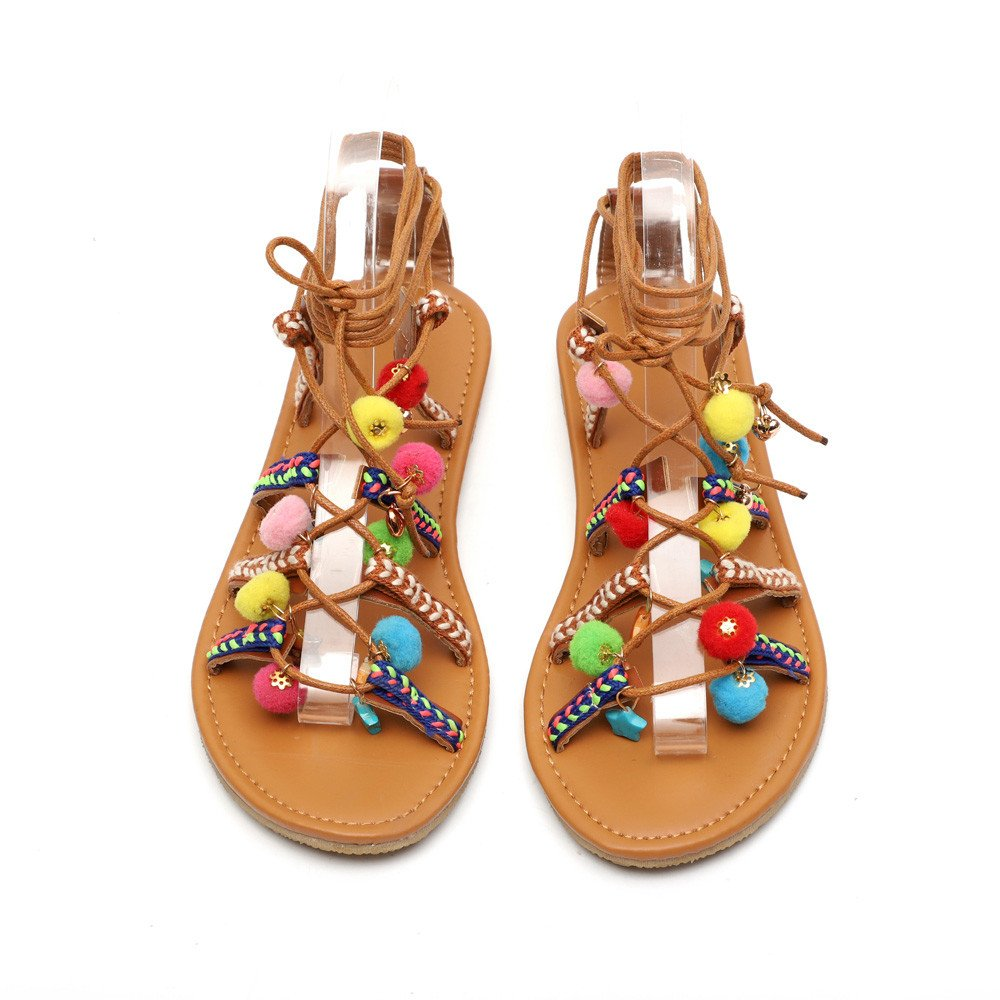 Gladiateur Plates Jerfer Shoes Femmes En Sandales Bohême Chaussure RomanLa Chaussures Sàndales Du Cuir Veille Pompon Net oxBdrCe