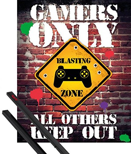 1art1® Póster + Soporte: Gaming Póster Mini (50x40 cm) Gamers Only, All...