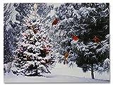 Weihnachtsbaum & Cardinal Birds LED Leinwand Drucken-Snowy Winter Forest Pine Bäume Szene-beleuchtetes Bild-Wand Kunst mit LED Lichtern, batteriebetrieben