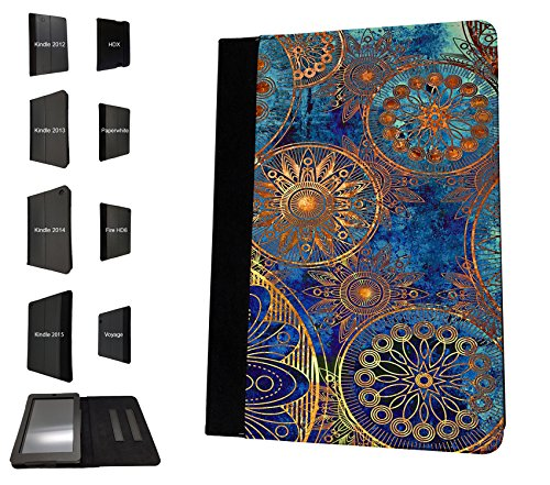 1396 - Cool Fun Trendy cute kwaii space hypnotise kaliedoscope colourful peace art swirl (6) Design Amazon Kindle Fire HD 7'' 1st Generation-2012 Fashion Trend TPU Leder Brieftasche Hülle Flip Cover Book Wallet Stand halter Case (Stand Case Für Kindle Fire)