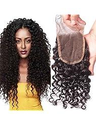 """BLISSHAIR mèches cheveux Top Lace Closure 4"""" x 4"""" Bresilien Vierges Extensions de Cheveux Humains Noir Naturels 8"""""""
