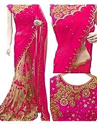 Swara Fashion Women's Georgette Thread Work Saree(SFP-199-D_Pink, Cream)