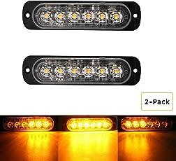 Ralbay 2 x Frontblitzer Orange 6 SMD Strobo Blitzer Leuchte Stroboskop Warnlicht Notfall Licht für Auto LKW Wohnwagen Anhänger Wohnmobil mit 19 Blitzmuster
