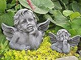 Tiefes Kunsthandwerk Steinfigur Engel 2er Set - Schiefergrau, Figur Deko Grabschmuck Garten Putte
