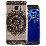 Coque Samsung Galaxy S7 Edge, Aeeque® Luxe Mandala Noir Motif Etui Arrière en Silicone TPU Gel Housse Antichoc Transparente Souple Coque de Protection pour Samsung S7 Edge (SM-G935 5.5 Pouces)
