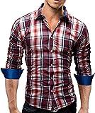 Merish Langarm Herren Hemd Slim Fit Kariertes Design Modell 39 Rot XXL