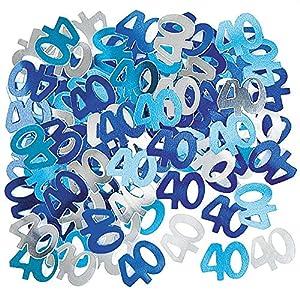 Gifts 4 All Occasions Limited SHATCHI-165 - Confeti para decoración de mesa (14 g, 40 cumpleaños), color azul