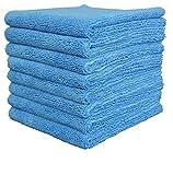 Gryeer Premium 8er Set Randloses Mikrofasertücher, ultraweich für perfekte Auto Lackpflege, Poliertuch, Trockentuch, 450gsm, 40x40cm, Blau