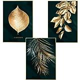 Martin Kench Set van 3 designposters muurschilderingen, bos gouden bladeren palmblad, zonder lijst, wandafbeelding print afbe