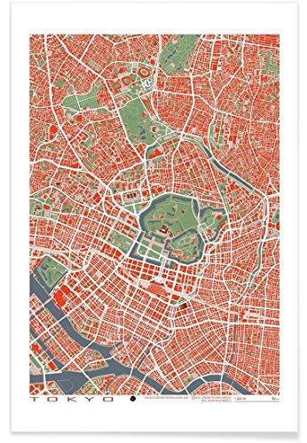 """JUNIQE® Poster 80x120cm Stadtpläne Tokio - Design """"Tokyo Classic"""" (Format: Hoch) - Bilder, Kunstdrucke & Prints von unabhängigen Künstlern entworfen von Planos Urbanos"""