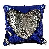 trlyc 16x 41cm Royal blau und silber Dekorative Meerjungfrau Kissen wendbar Pailletten Kissen werfen Kissenbezug ohne Kissen Einsatz